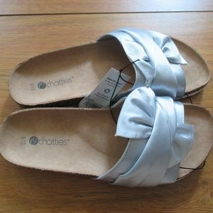 Chatties Silver Slide on Sandles Size 9 10 NWT